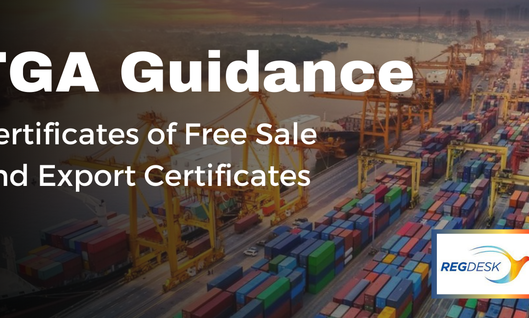 TGA Guidance on Certificates of Free Sale and Export Certificates